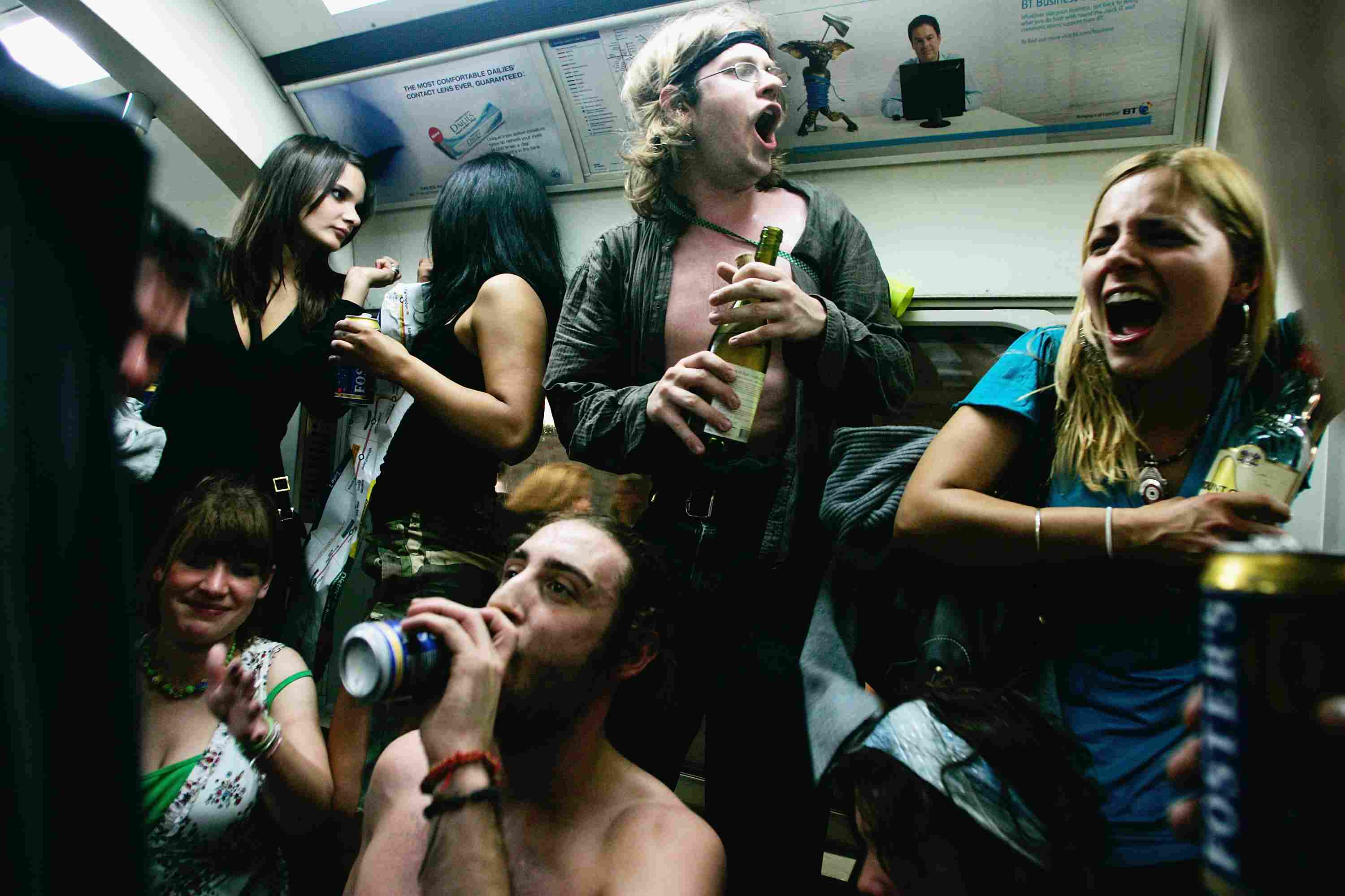 People partying on train