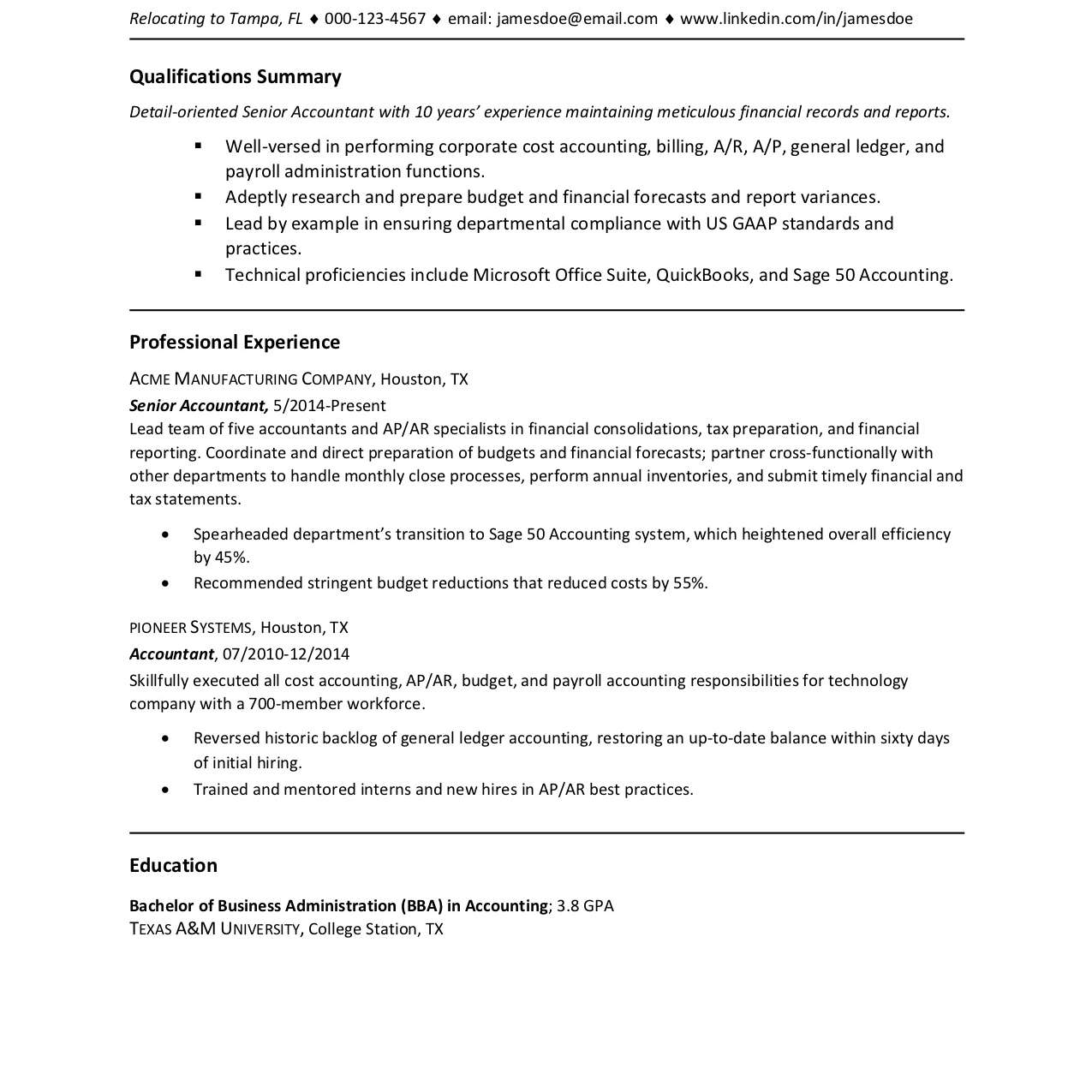 Screenshot of a resume without an address
