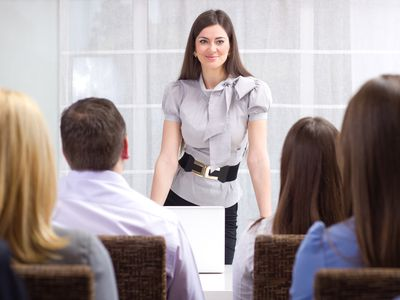Business woman holding a meeting