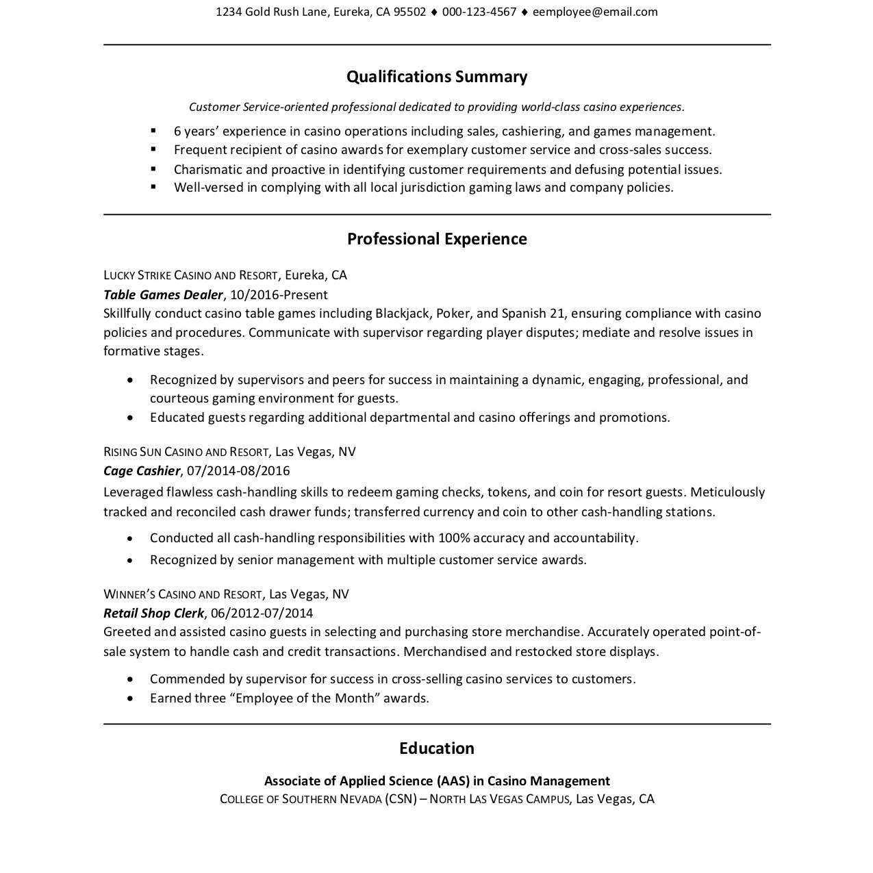 33 resume for one job for many years background