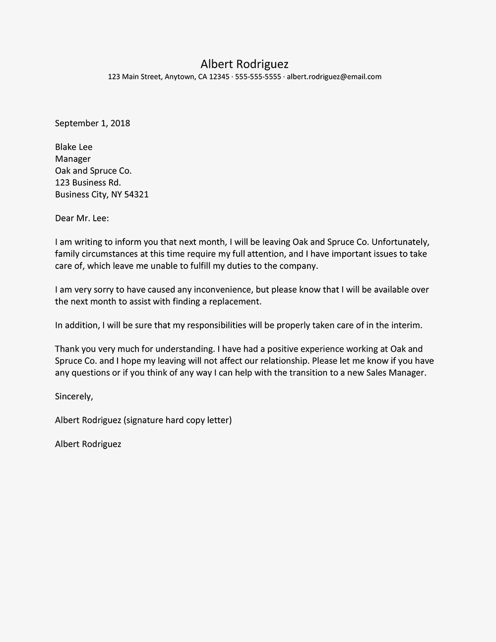 Resignation Letter For Family Reasons