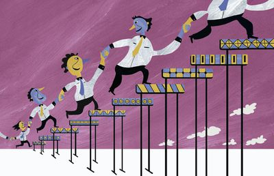 Row of business people holding hands climbing over ascending hurdles