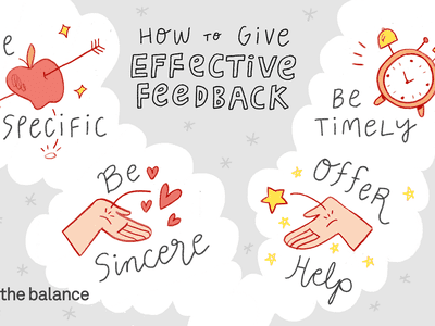 how to give effective feedback: be specific, be sincere, offer help, and be timely