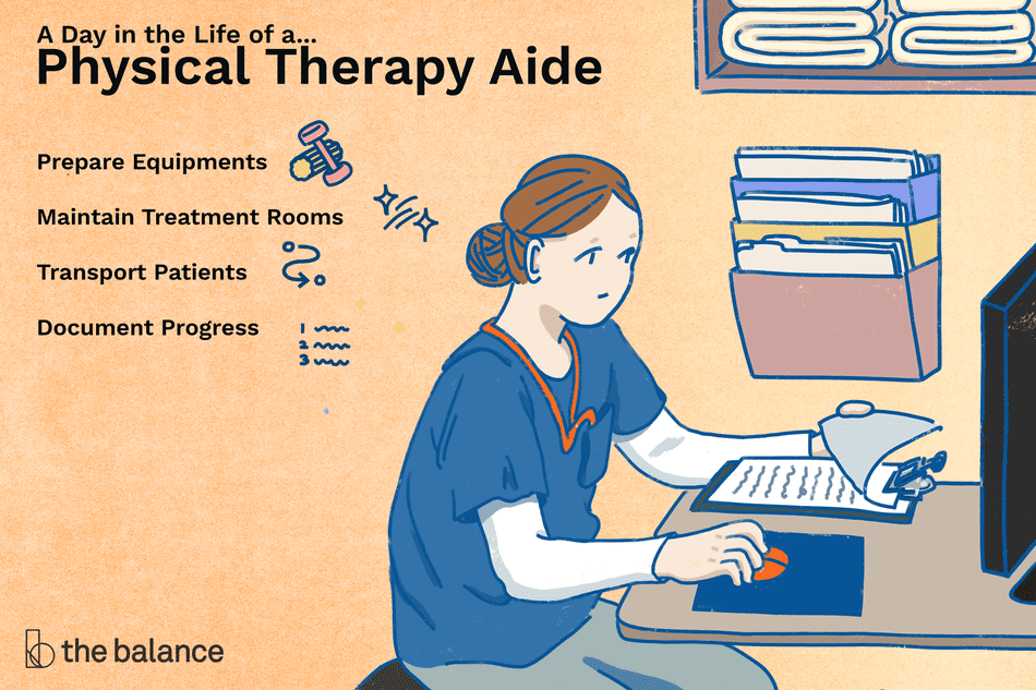 A day in the life of a physical therapy aide: Prepare equipment, maintain treatment rooms, transport patients, document progress