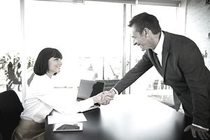 Businesswoman shaking hands with businessman in a meeting