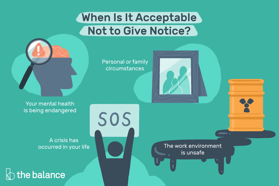 This illustration shows when it's acceptable to not give notice at work, including personal or family circumstances, your mental health is being endangered, a crisis has occurred in your life, and when the work environment is unsafe.