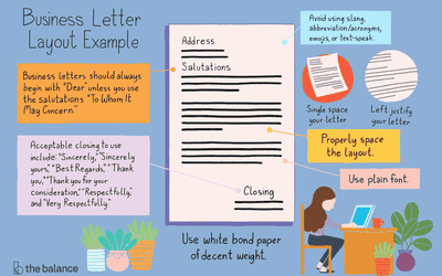 example of the layout to use when writing a business letter