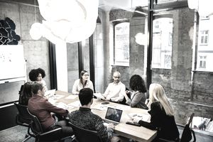 A group of professionals working together in a business meeting