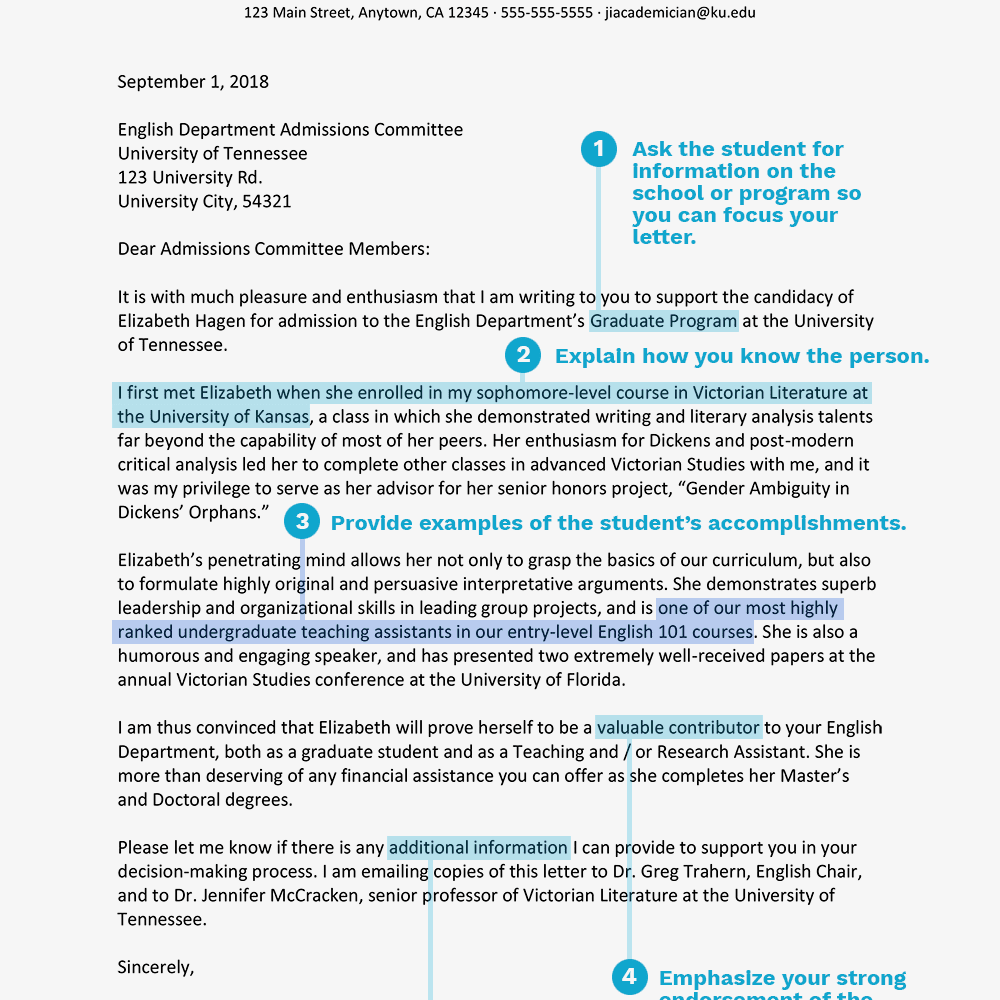 sample academic recommendation letter text version
