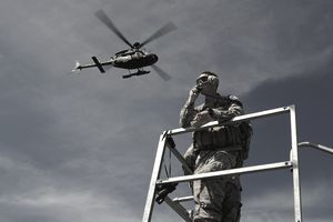 A Joint Terminal Attack Controller communicates a close air support mission.