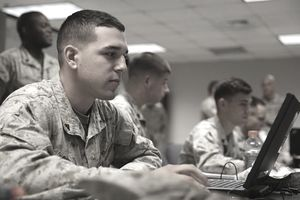 Lance Cpl. Avery Dulaney, a MAGTF planning specialist with 6th Marine Regiment, 2nd
