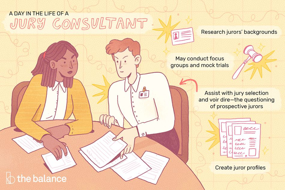 """This illustration describes a day in the life of a jury consultant including """"Research jurors' backgrounds,"""" """"May conduct focus groups and mock trials,"""" """"Assist with the jury selection and voir dire-the questioning of prospective jurors,"""" and """"Create juror profiles."""""""