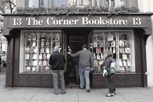 customers standing outside and entering a bookstore