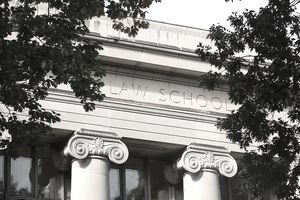 Closeup of Harvard Law School building