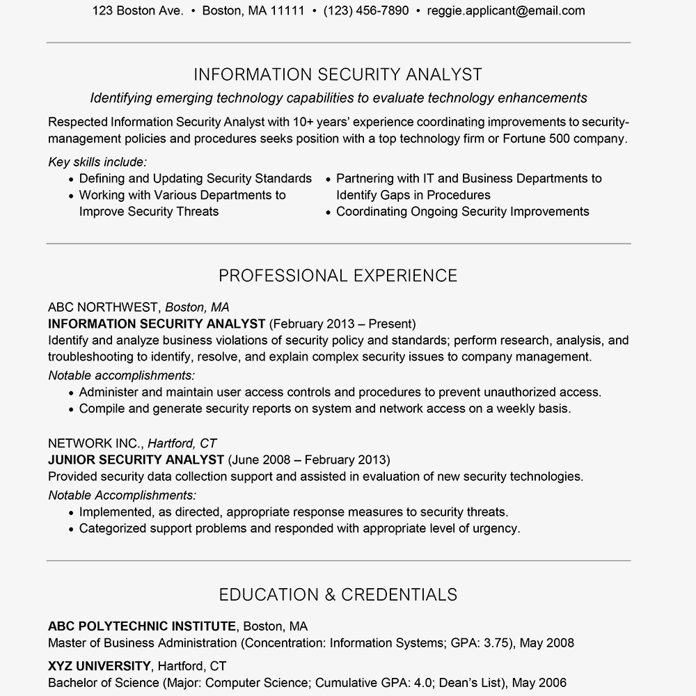 information security analyst cover letter and resume