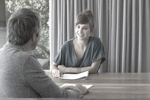 woman interviewer conducting an informational interview