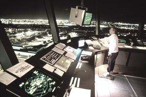 Interior of air traffic control tower, Los Angeles, California, USA