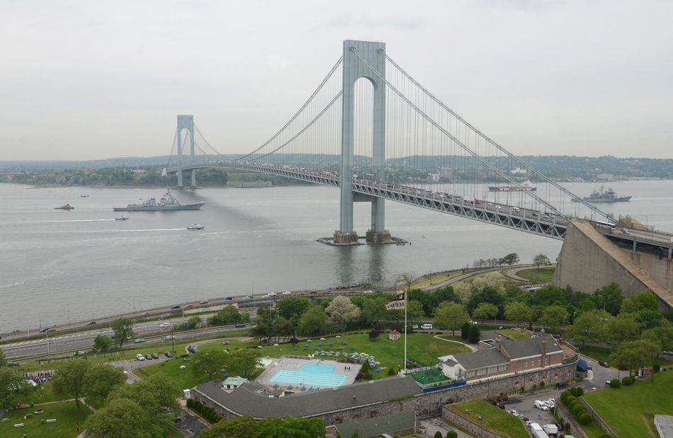 Fort Hamilton sits at one end of the Verrazano-Narrows bridge