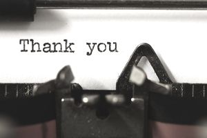 """Thank you"" on vintage manual typewriter"