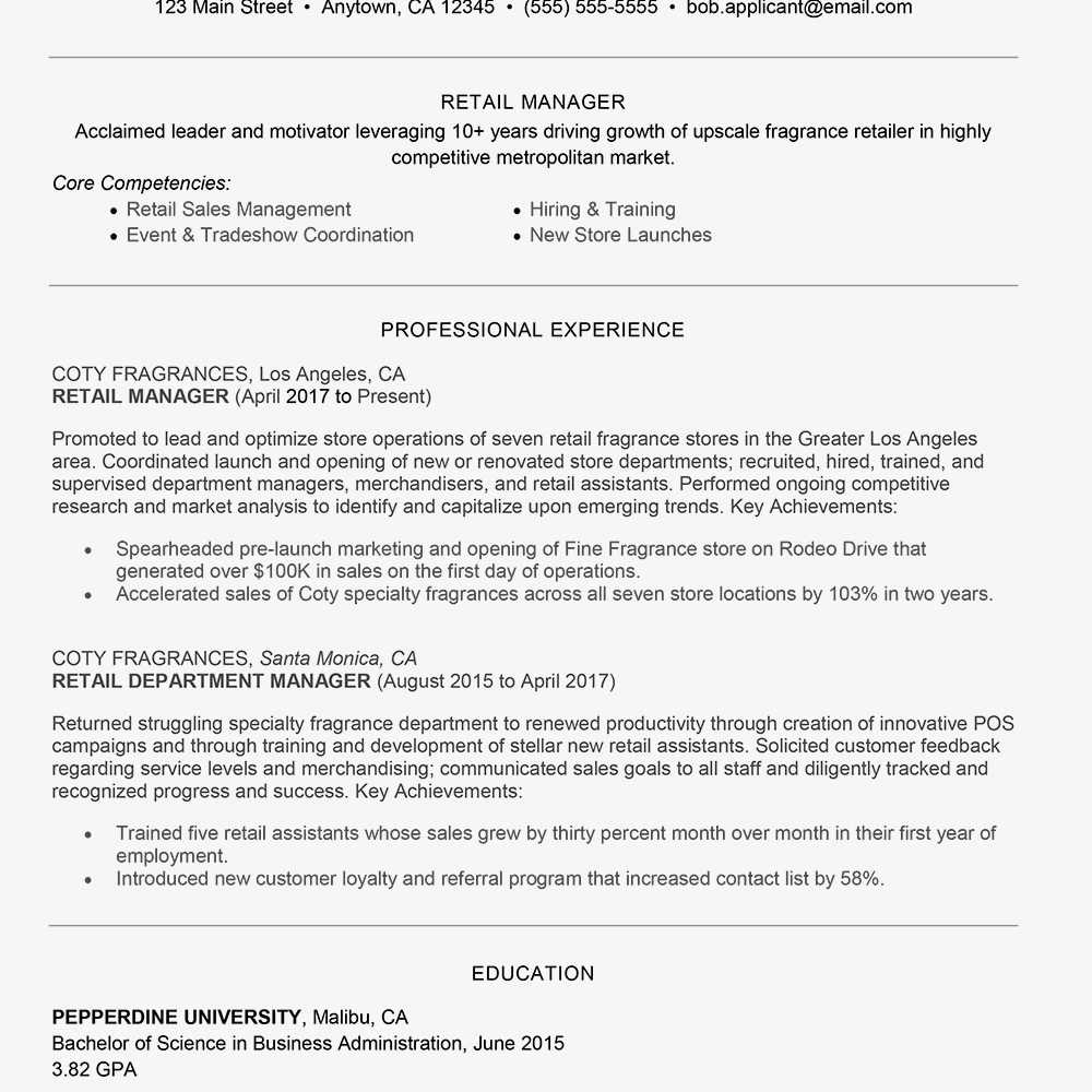 Resume Example Retail 34