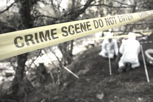 Crime Scene Investigators Searching Grave Site